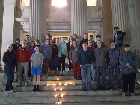 Students Posing on Steps